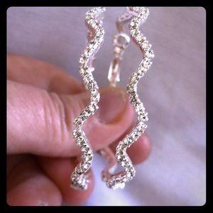 Jewelry - Wavy Rhinestone Hoop Earrings